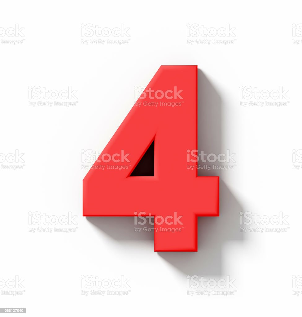 number 4 3D red isolated on white with shadow - orthogonal projection stock photo