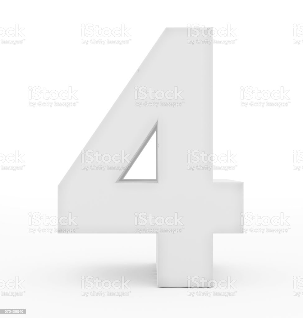 number 4 3d white isolated on white stock photo