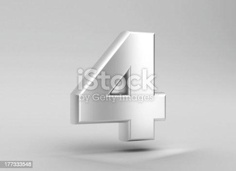 istock number 4 aluminum iron on grey background 177333548