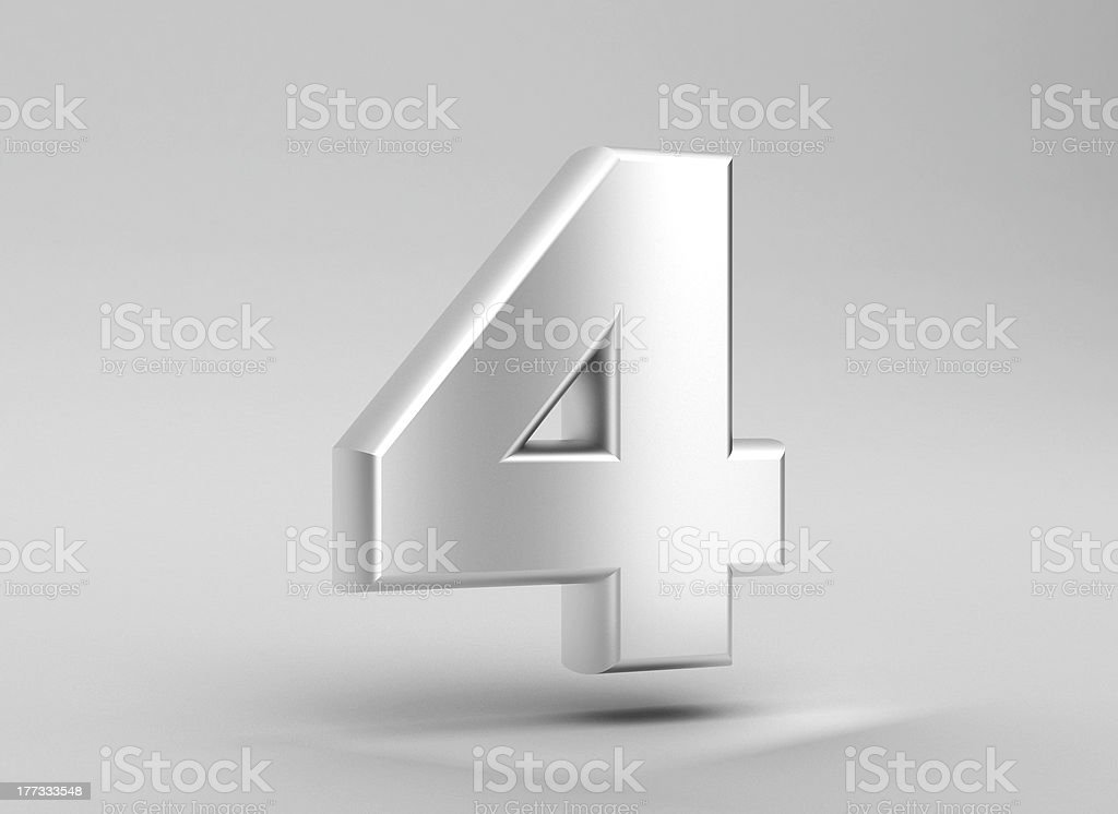 number 4 aluminum iron on grey background stock photo