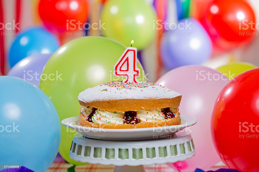 Number 4 Birthday Cake Royalty Free Stock Photo