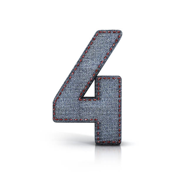 Number 4, Denim (Jeans) fabric Font. stock photo