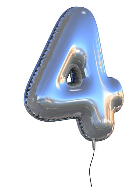 number 4 four balloon font number 4 four balloon font 3d illustration number 4 stock pictures, royalty-free photos & images