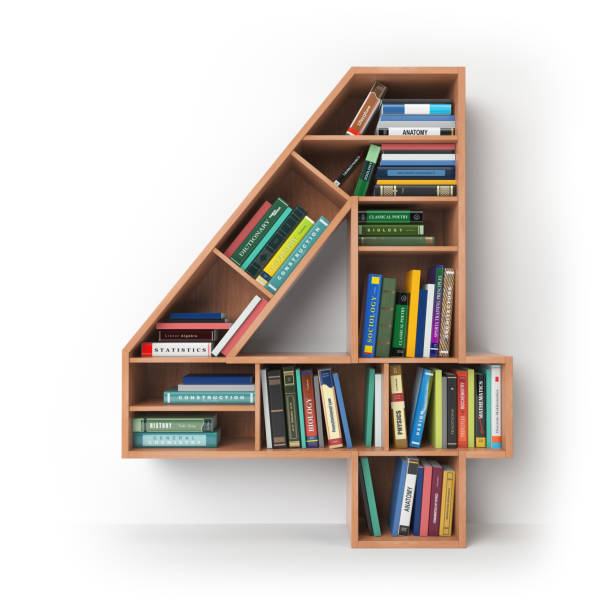 Number 4 four in the form of shelves with books isolated on white. stock photo