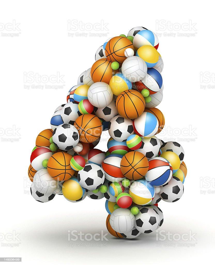 Number 4, gaming balls alphabet royalty-free stock photo