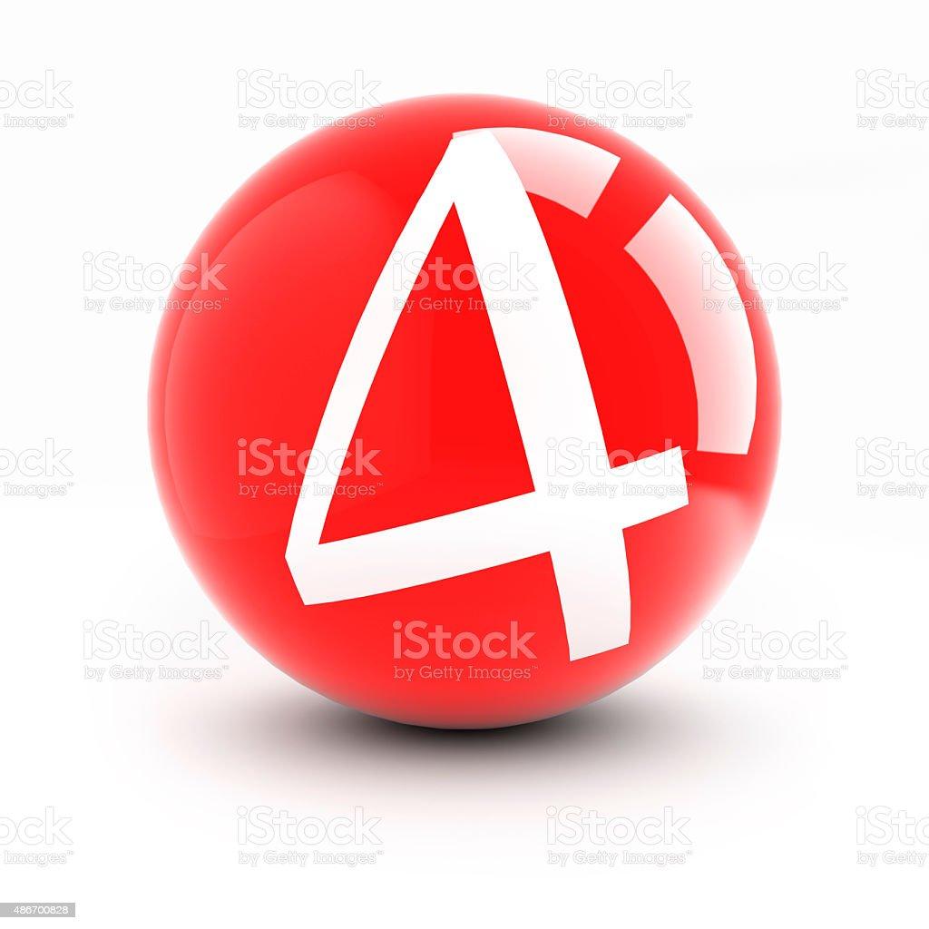 Número 4 bolas de rojo brillante Aislado en blanco. foto de stock libre de  derechos e0bcb4996f04b
