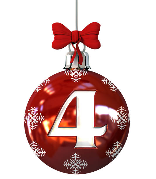 Number 4 on Red Christmas Ball stock photo