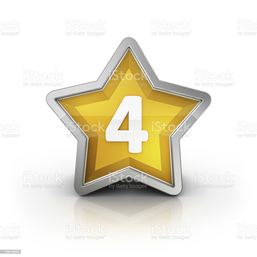 number 4 on star glossy icon royalty-free stock photo