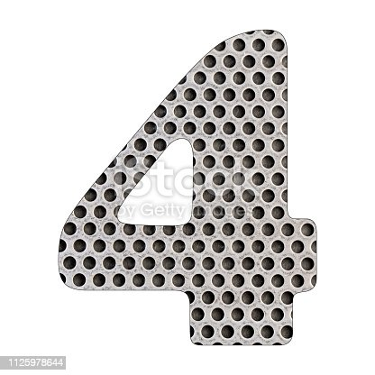 istock Number 4 - Perforated stainless steel sheet. 1125978644