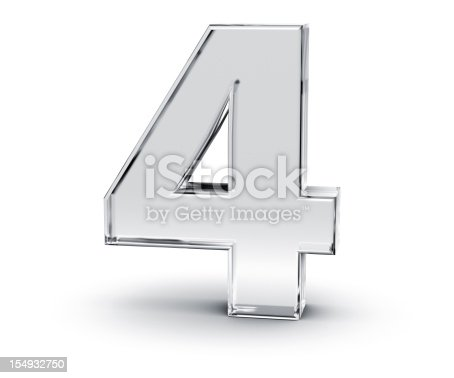 3D rendering of Number 4 made of transparent glass with Shades and Shadow isolated on white background.