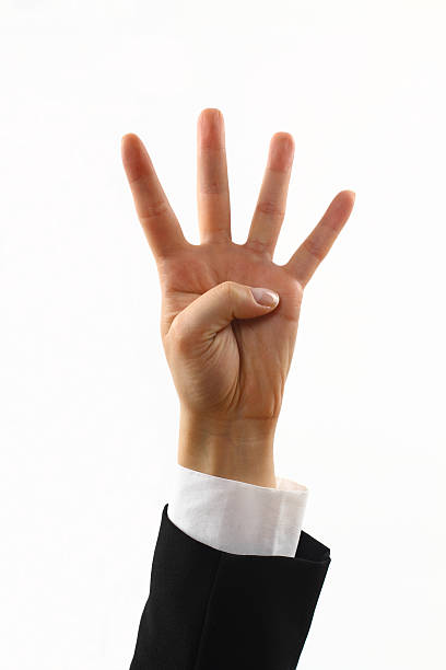 number 4 isolated hand,number 4 number 4 stock pictures, royalty-free photos & images