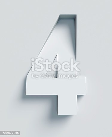 istock Number 4 slanted 3d font engraved and extruded from surface 583977910