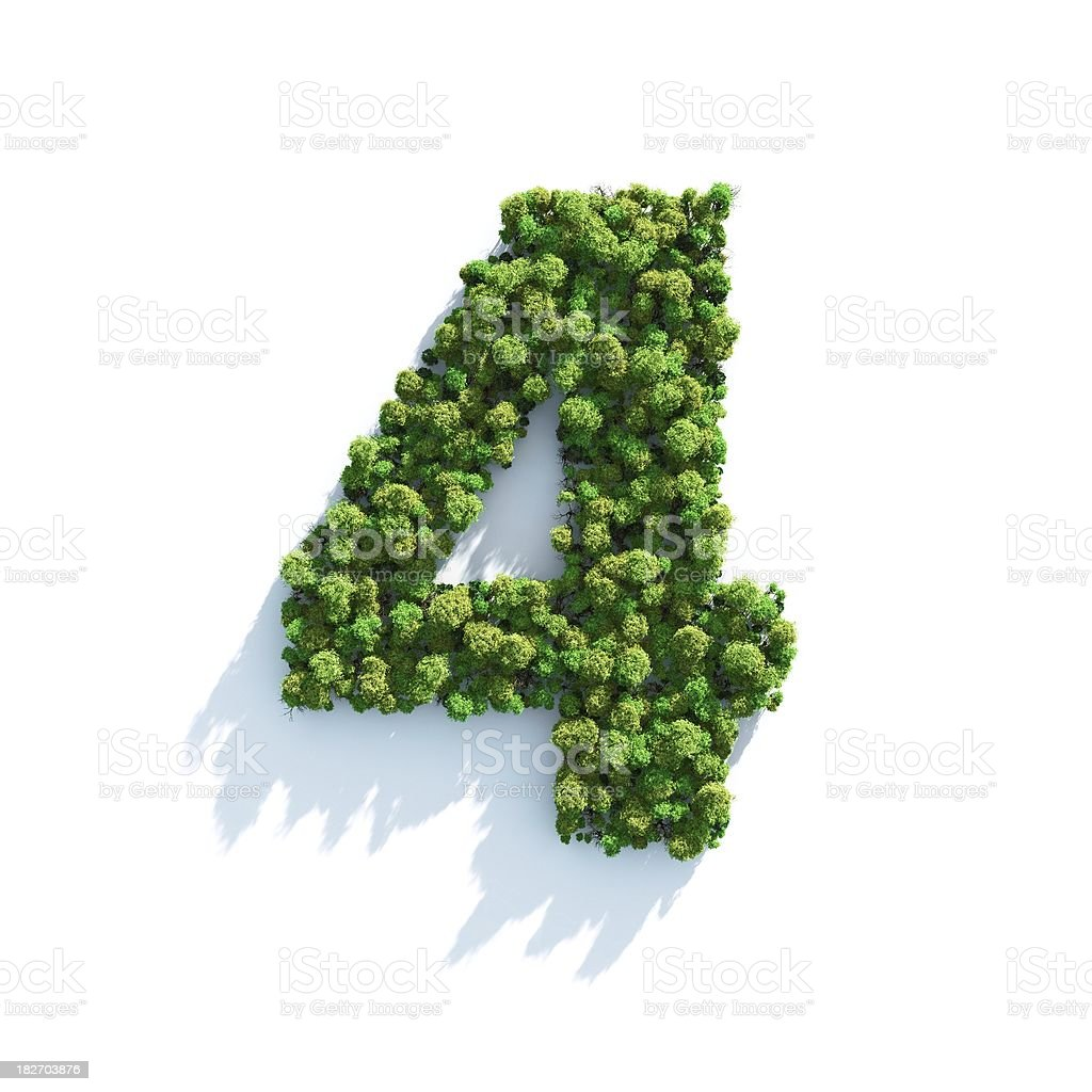 Number 4: Top View stock photo