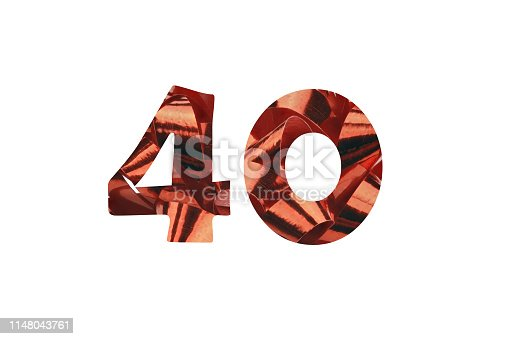 istock Number 40 cut out of a red ribbon 1148043761