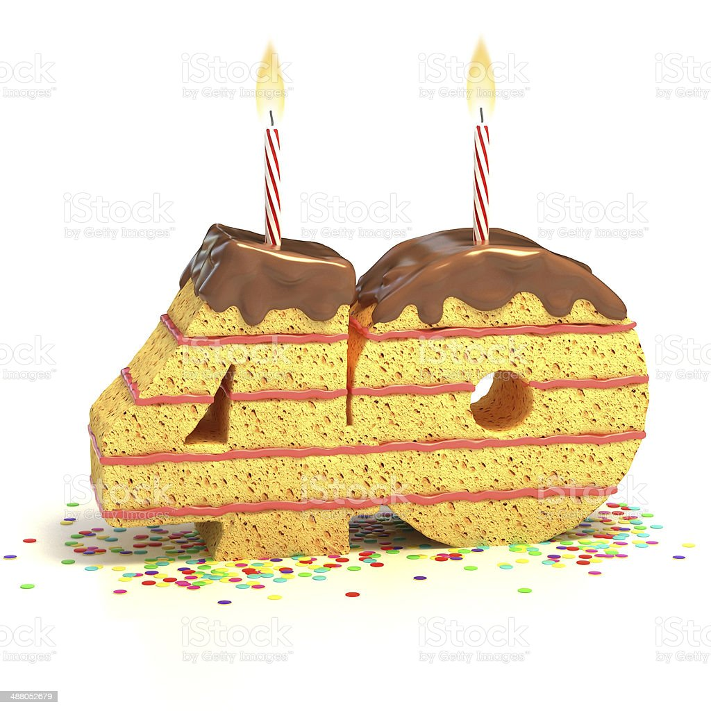 Number 40 Shaped Chocolate Birthday Cake With Lit Candle Stock Photo