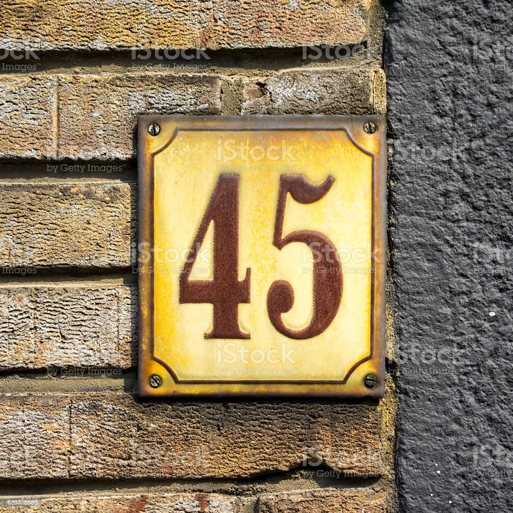 Number 45 stock photo