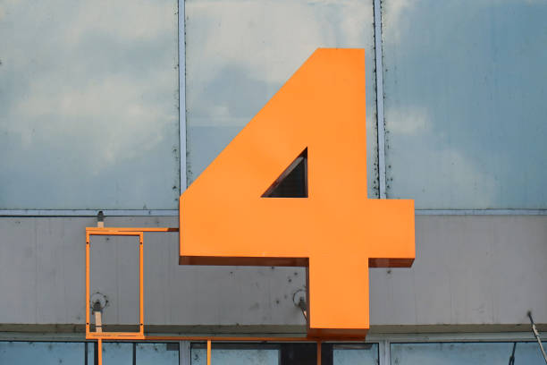 Number 4non building Number 4 figure on facade of modern building number 4 stock pictures, royalty-free photos & images