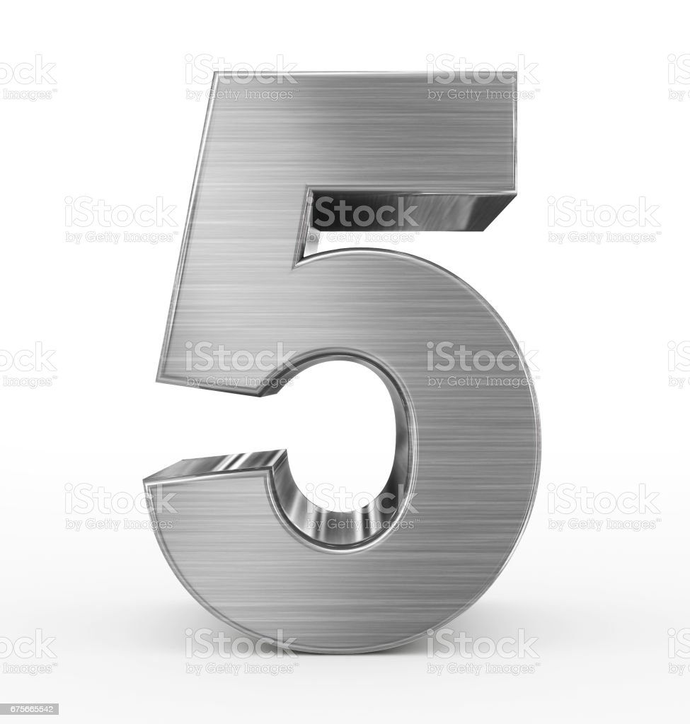 number 5 3d metal isolated on white royalty-free stock photo
