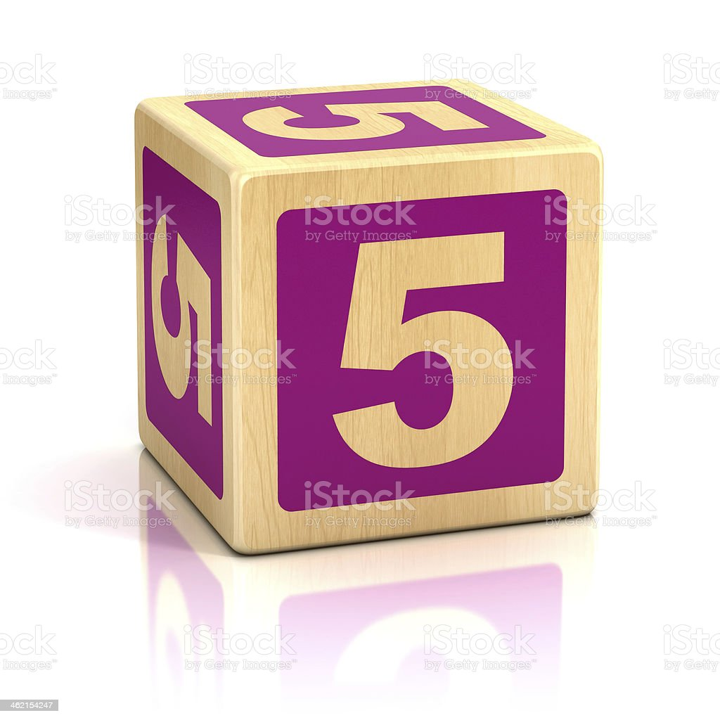 number 5 alphabet cubes font stock photo