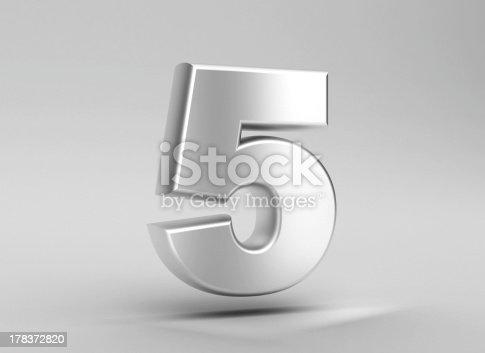 istock number 5 aluminum iron on grey background 178372820