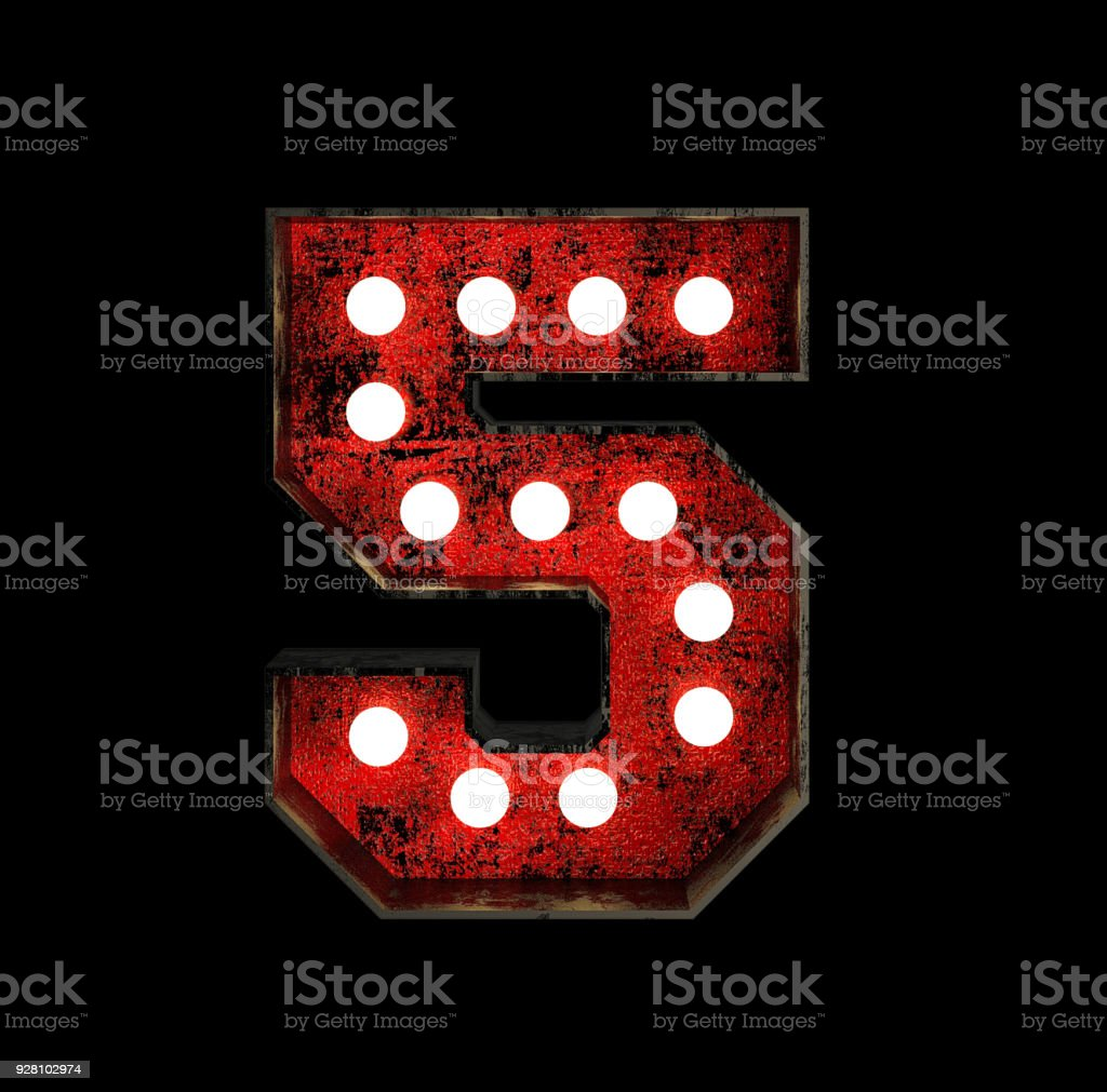 Number 5. Broadway Style Light Bulb Font stock photo