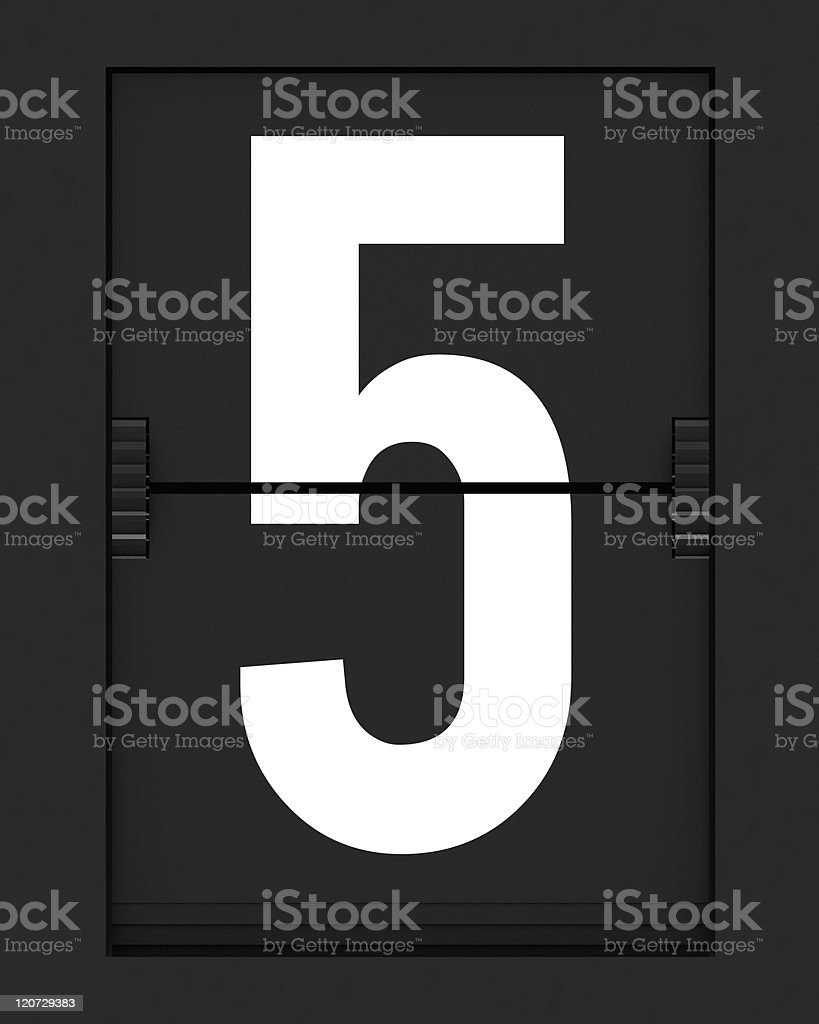 Number 5  from mechanical timetable board royalty-free stock photo