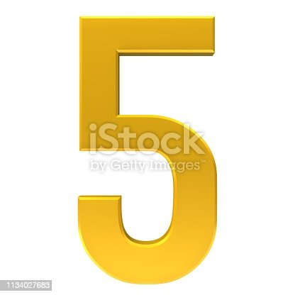number 5 gold 3d sign render graphic isolated on white background
