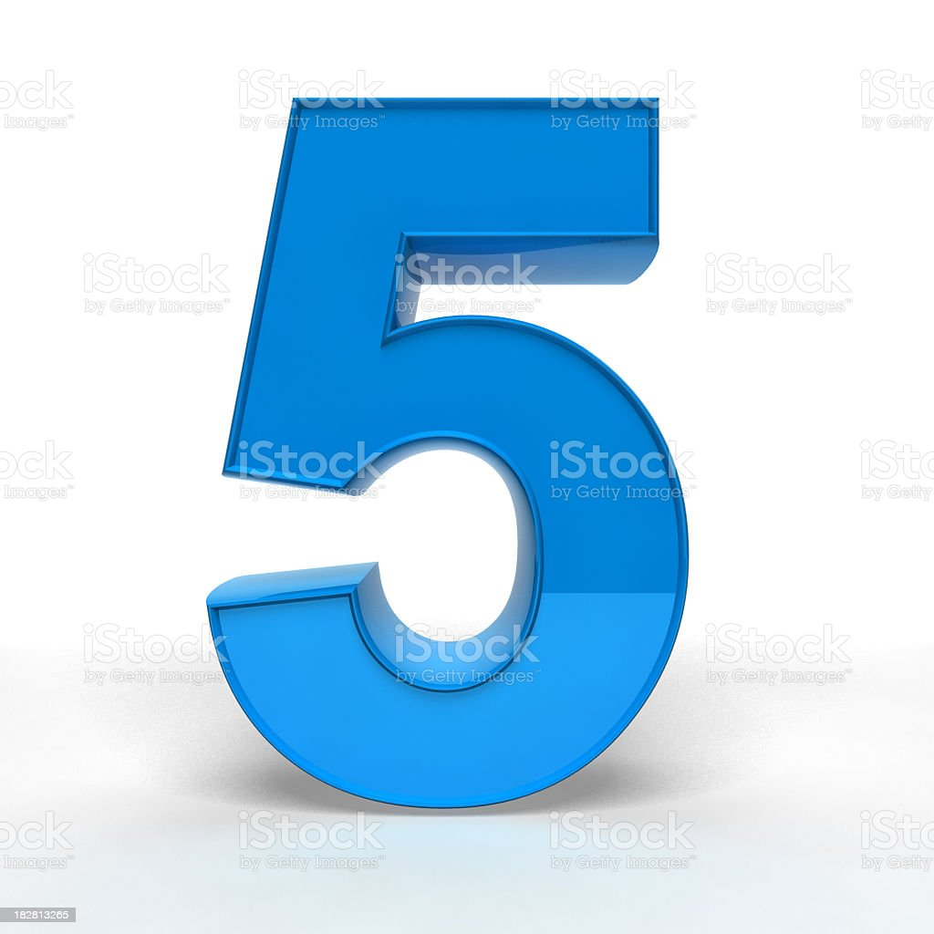 Number 5 illustration in shiny blue stock photo