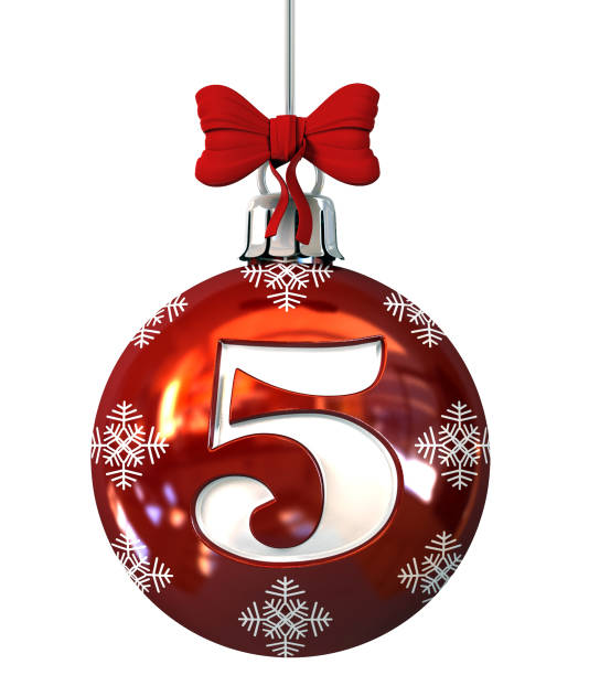 Number 5 on Red Christmas Ball stock photo