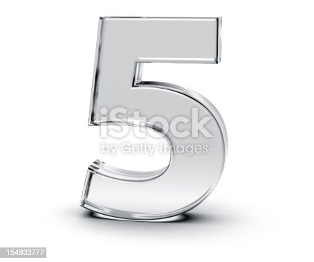 3D rendering of Number 5 made of transparent glass with Shades and Shadow isolated on white background.