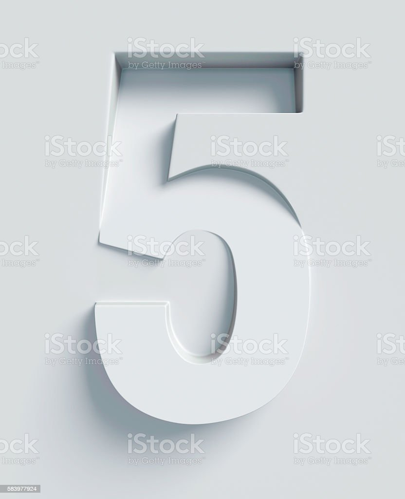 Number 5 slanted 3d font engraved and extruded from surface stock photo