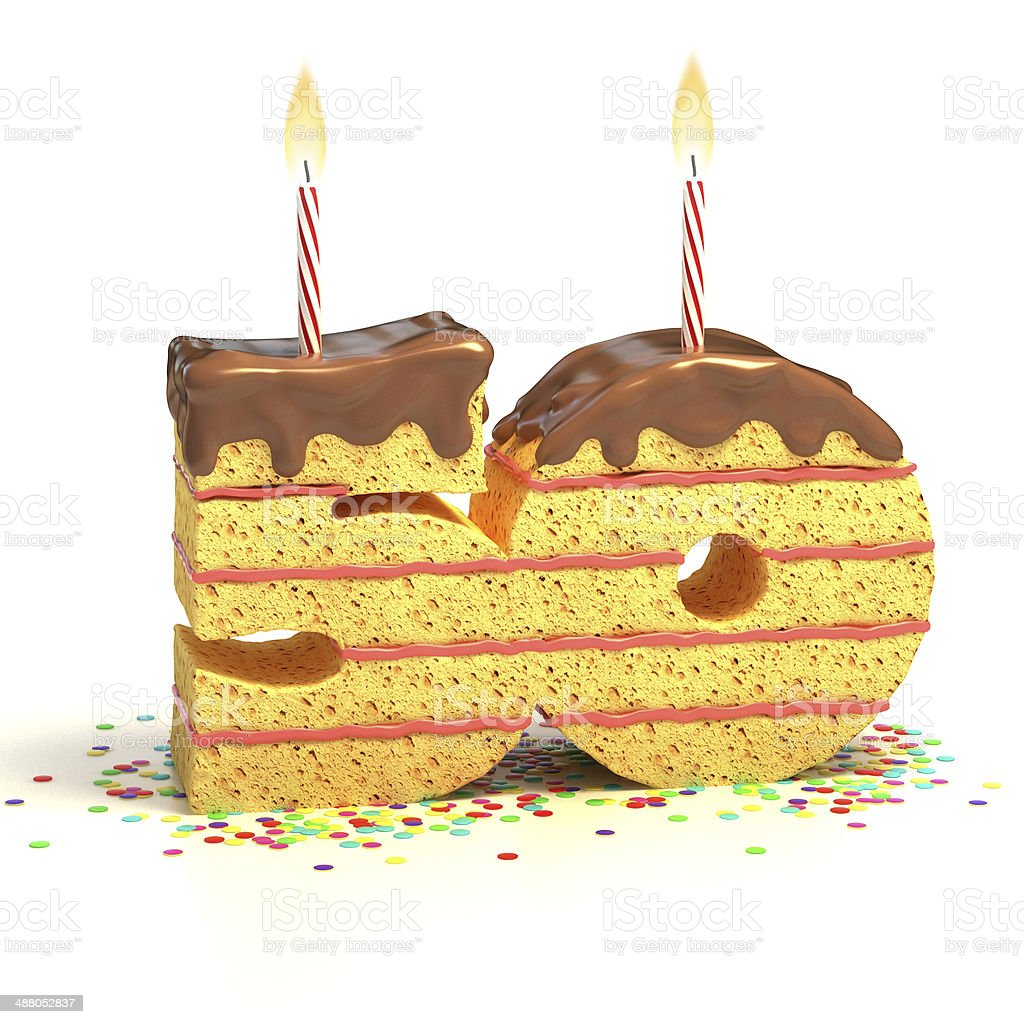 number 50 shaped chocolate birthday cake with lit candle stock photo