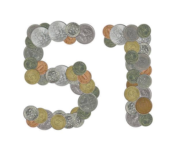 number 51 with old coins - numero 51 fotografías e imágenes de stock
