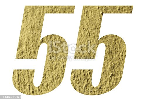 Number 55 with yellow wall on white background