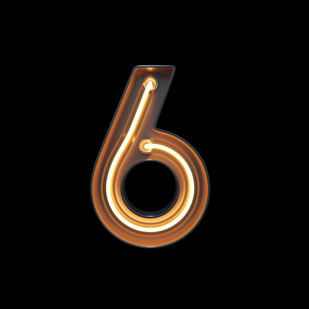 number 6, alphabet made from neon light with clipping path - number 6 stock photos and pictures