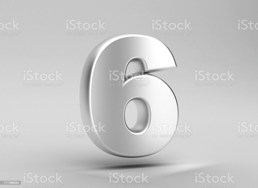number 6 aluminum iron on grey background royalty-free stock photo