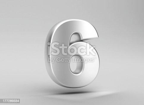 istock number 6 aluminum iron on grey background 177289334