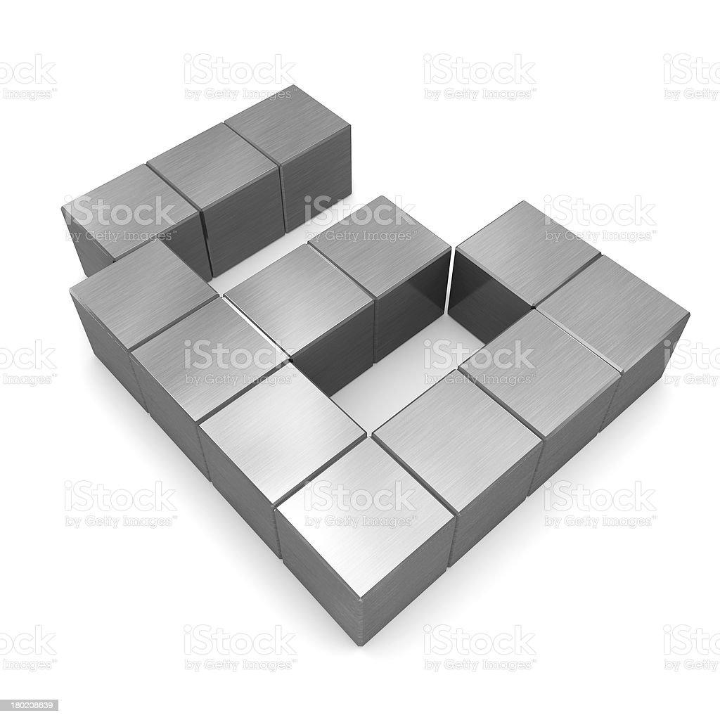 number 6 cubic metal royalty-free stock photo