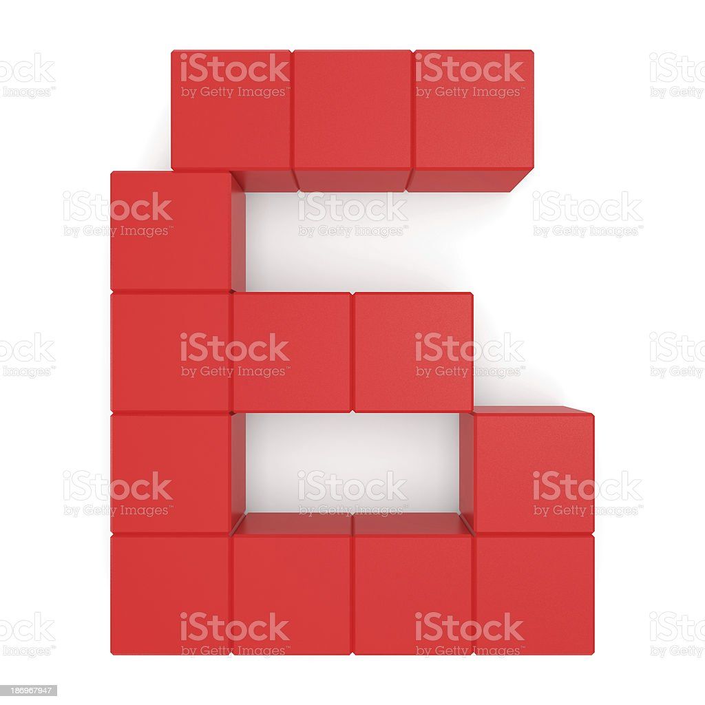 number 6 cubic red royalty-free stock photo