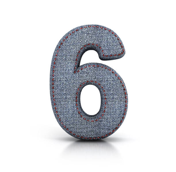 Number 6, Denim (Jeans) fabric Font. stock photo