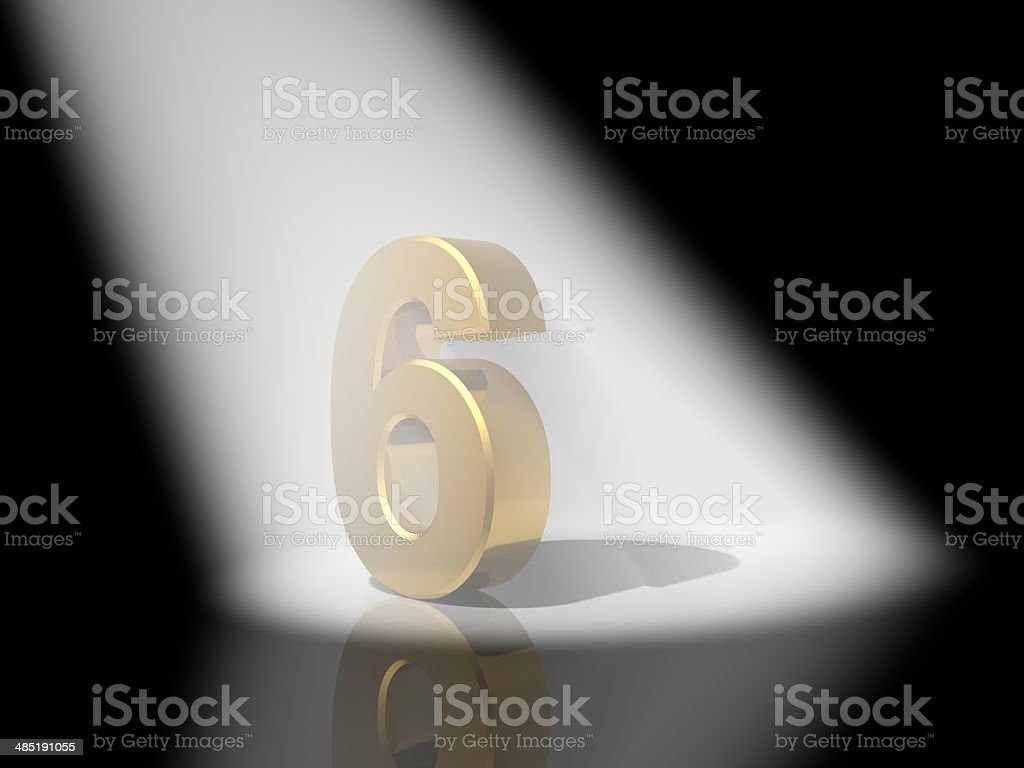 Number 6  from gold solid alphabet. stock photo