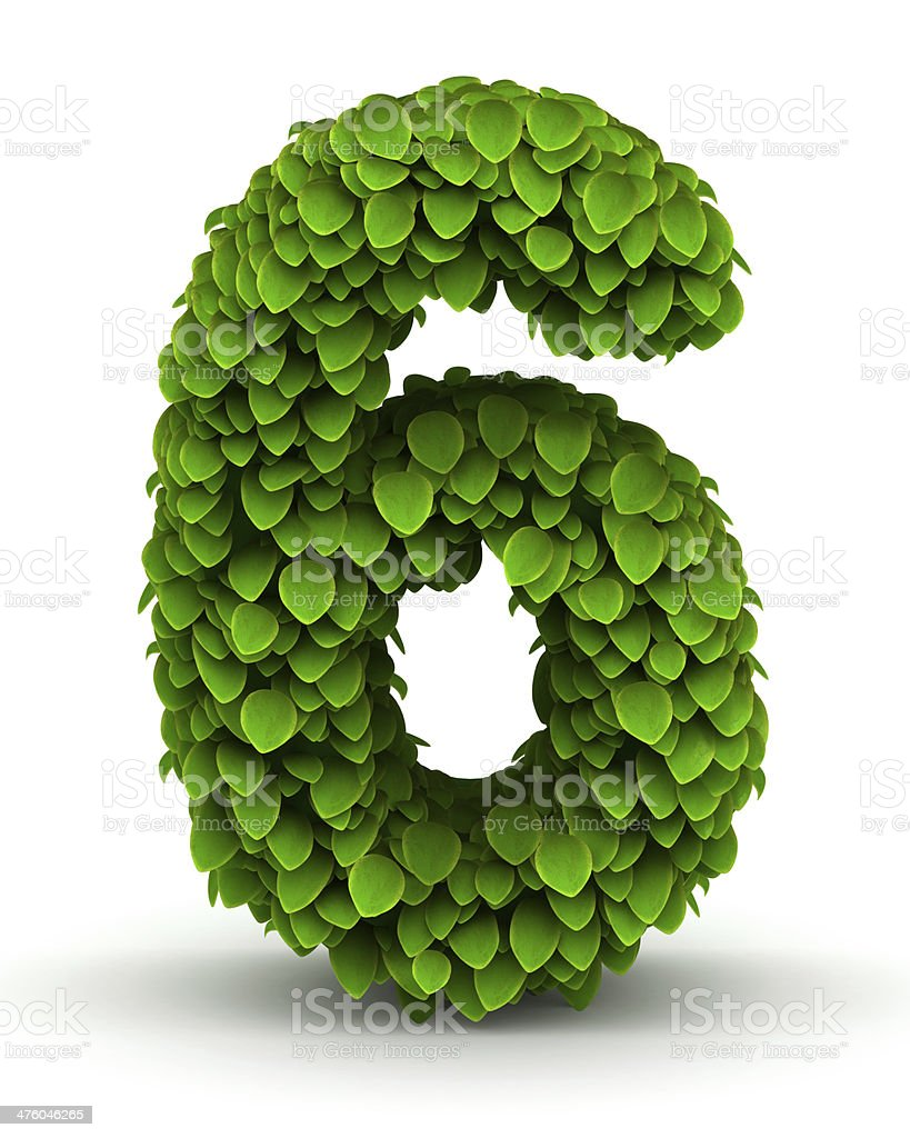 Number 6, green leaves font royalty-free stock photo