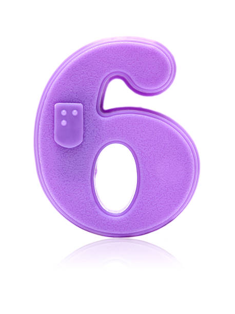 Number 6 isolated on white background stock photo