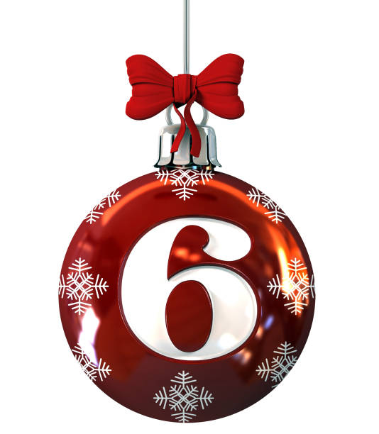 Number 6 on Red Christmas Ball stock photo