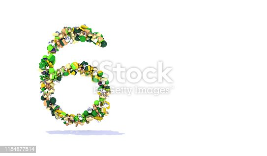 istock Number 6 - Pattern with Large Group Of Colorful Objects on White 1154877514