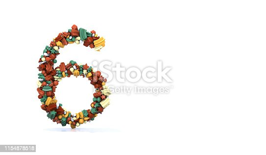 istock Number 6 - Pattern with Large Group Of Colorful Objects on White 1154878518