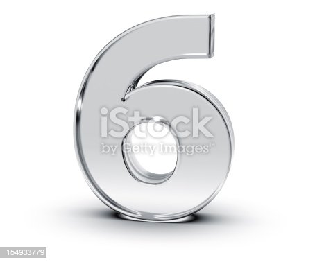 3D rendering of Number 6 made of transparent glass with Shades and Shadow isolated on white background.