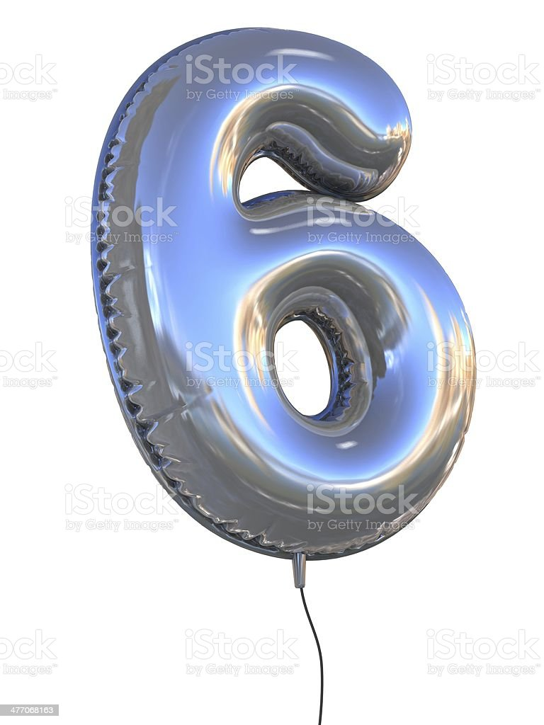 number 6 six balloon font stock photo