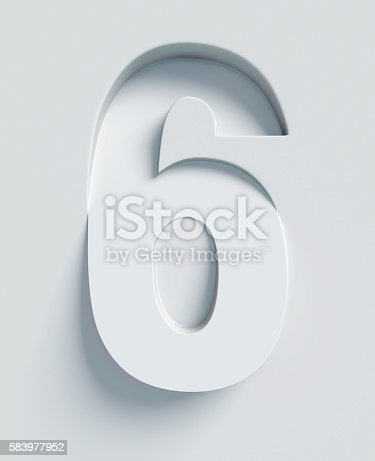 istock Number 6 slanted 3d font engraved and extruded from surface 583977952