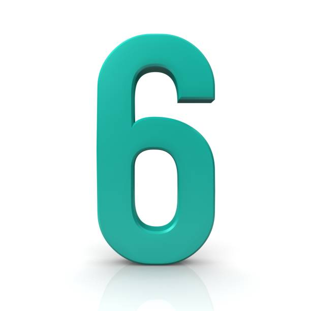 number 6 turquoise 3d sign render graphic stock photo